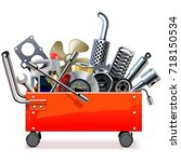vector toolbox trolley with car ... | Shutterstock .eps vector #718150534