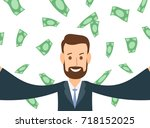 happy businessman taking selfie ... | Shutterstock .eps vector #718152025