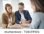 mature couple meeting real... | Shutterstock . vector #718159501