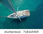 view from high angle of sailing ... | Shutterstock . vector #718165405