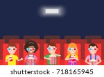 happy children watching  movie... | Shutterstock .eps vector #718165945