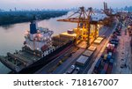 Container Ship In Export And...