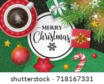 christmas banner design with... | Shutterstock .eps vector #718167331