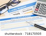 loan application form excellent ... | Shutterstock . vector #718170505