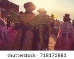 authentic peruvian dance | Shutterstock . vector #718172881