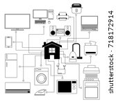 drawing set of home appliances... | Shutterstock .eps vector #718172914