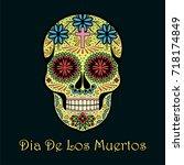dia de los muertos greeting... | Shutterstock .eps vector #718174849