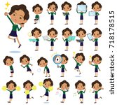 set of various poses of... | Shutterstock .eps vector #718178515