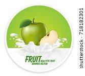 apple juice label vector visual ... | Shutterstock .eps vector #718182301