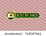 gold shiny badge with medical... | Shutterstock .eps vector #718187461