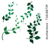 vector green branches with... | Shutterstock .eps vector #718188739