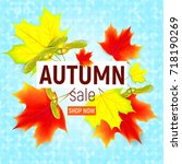 sales banner with maple autumn... | Shutterstock .eps vector #718190269
