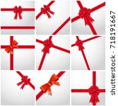 gift ribbon red bow collection... | Shutterstock .eps vector #718191667