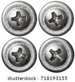 metal screw nail heads set... | Shutterstock . vector #718193155