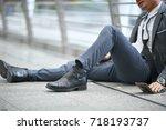 despair and stress of failed... | Shutterstock . vector #718193737