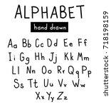 hand  drawn alphabet.... | Shutterstock .eps vector #718198159