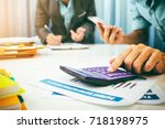 vat and loan rates calculated... | Shutterstock . vector #718198975