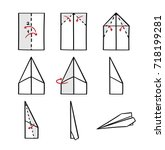 how to make a paper airplane... | Shutterstock .eps vector #718199281
