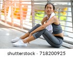 beautiful young girl with white ... | Shutterstock . vector #718200925