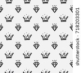 hand drawn diamonds and crowns... | Shutterstock .eps vector #718203301
