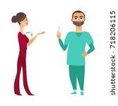 vector flat cartoon adult man ... | Shutterstock .eps vector #718206115
