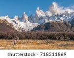 asian woman hiking laguna de... | Shutterstock . vector #718211869