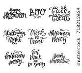 vector set of hand lettering... | Shutterstock .eps vector #718212634