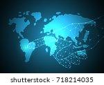 technology digital future... | Shutterstock .eps vector #718214035
