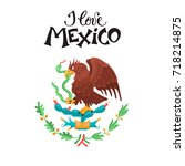 i love mexico illustration.... | Shutterstock .eps vector #718214875