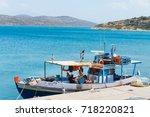 plaka  crete  greece   july 20  ...   Shutterstock . vector #718220821
