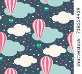 cartoon hot air balloon and... | Shutterstock .eps vector #718224439