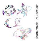 decorative fishes silhouette.... | Shutterstock .eps vector #718225009