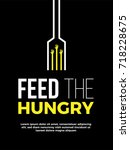 feed the hungry poster template.... | Shutterstock .eps vector #718228675