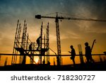 work safety officer or civil... | Shutterstock . vector #718230727