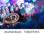 casino theme. high contrast... | Shutterstock . vector #718237351