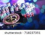 casino theme. high contrast... | Shutterstock . vector #718237351