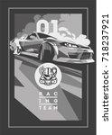 burnout car  japanese drift... | Shutterstock .eps vector #718237921