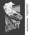 burnout car  japanese drift...   Shutterstock .eps vector #718237927