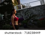 beautiful girl with sports... | Shutterstock . vector #718238449