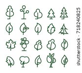 pictograms of trees. vector... | Shutterstock .eps vector #718240825