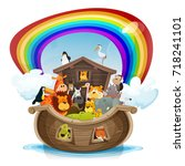 Noah's Ark With Rainbow ...