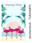vertical banner of flamingos on ... | Shutterstock .eps vector #718246891