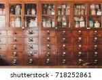 herbal shop or chinese herb... | Shutterstock . vector #718252861