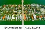 venetian islands  miami beach ...   Shutterstock . vector #718256245