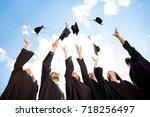 congratulations to graduates ... | Shutterstock . vector #718256497