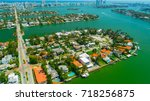 venetian islands  miami beach ...   Shutterstock . vector #718256875