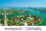 venetian islands  miami beach ...   Shutterstock . vector #718256881