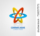 atom symbol on a white... | Shutterstock .eps vector #718257571