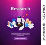 research poster of isometric... | Shutterstock .eps vector #718259815