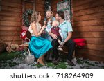 family in the room decorated... | Shutterstock . vector #718264909